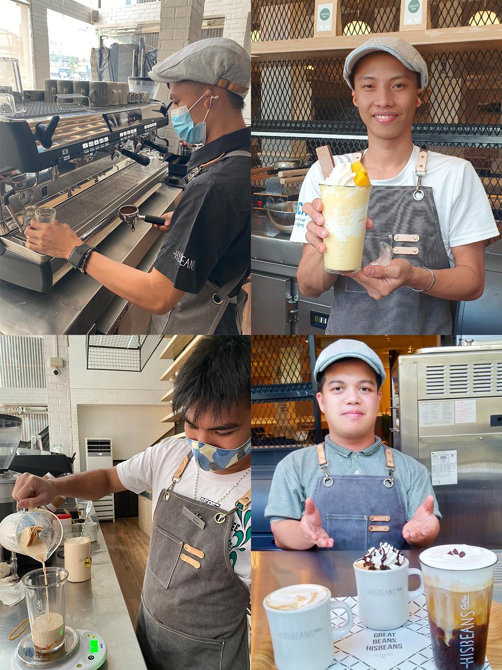 장애인 바리스타가 음료를 만드는 모습과 직접 만든 음료